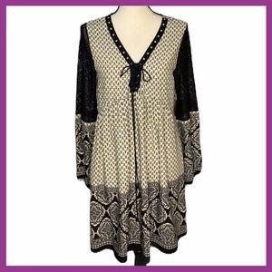 Millibon USA Cream & Black Peasant Dress